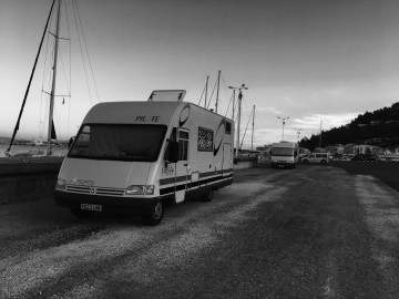 Paloma, our motorhome on a Greek harbour