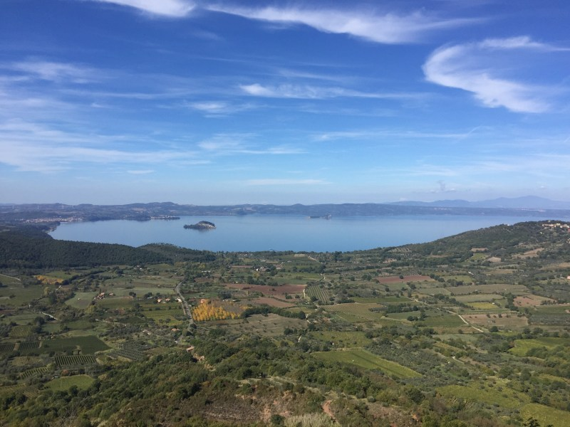 stunning views of the Bolsena Lake, Italy by motorhome