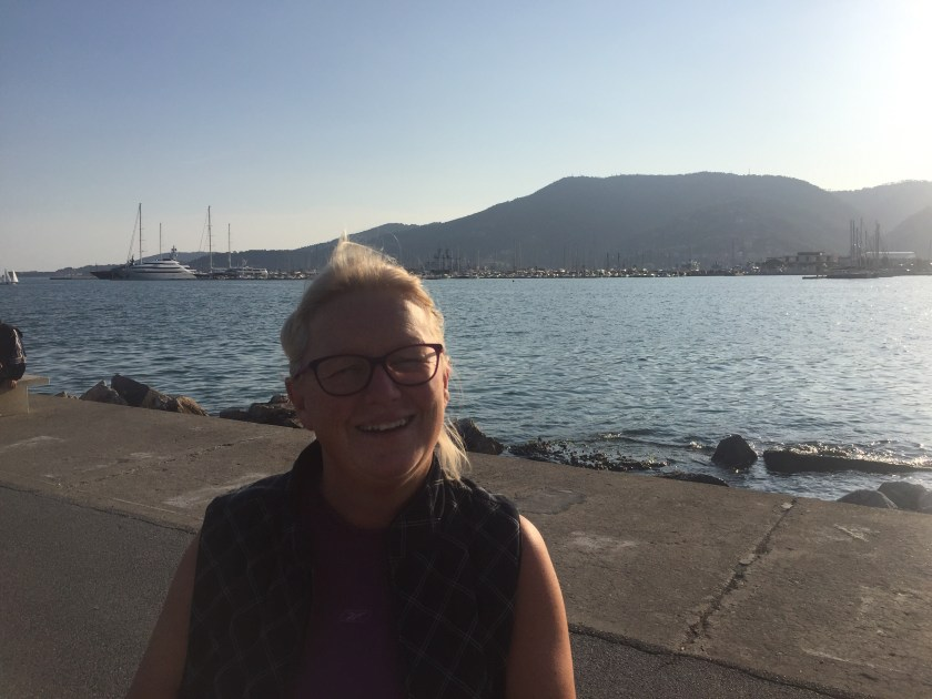 Michele on the pier at La Spezia, Italy with our motorhome