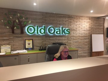Michele hard at work in the old oaks reception