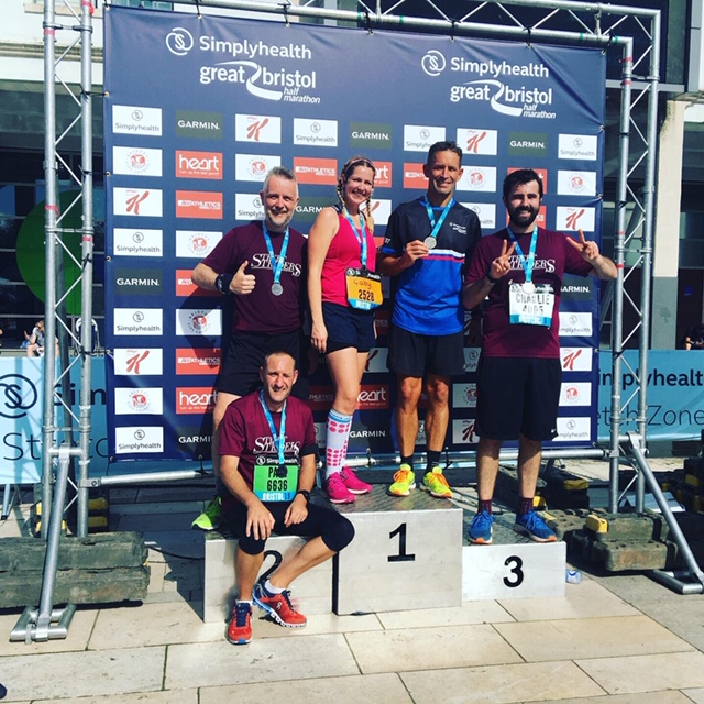 Paul, From our leap of faith, with his Street Striders running club after the simply Health Great Bristol Half Marathon
