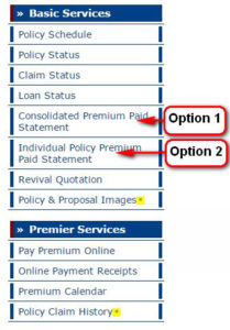 Premium paid certificate online lic