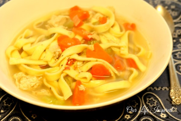 Chicken noodle soup. www.ourlifeinspired.com