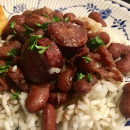 red beans and rice with cajun sausage.