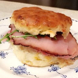 Honey Ham and Arugula Biscuits with an Orange Honey Mustard Sauce.