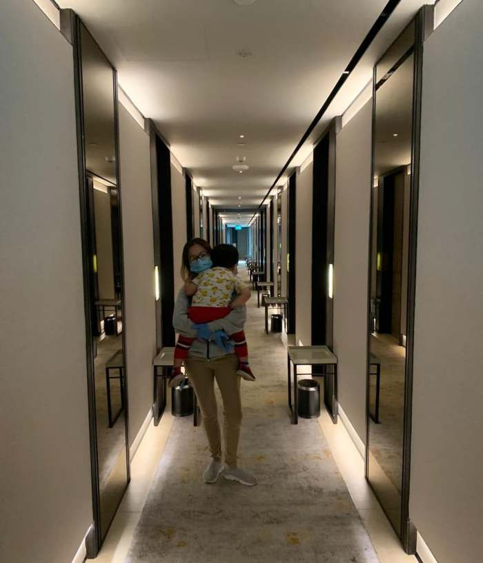 Walking through the hotel corridor