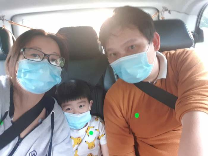 In the cab with face masks on