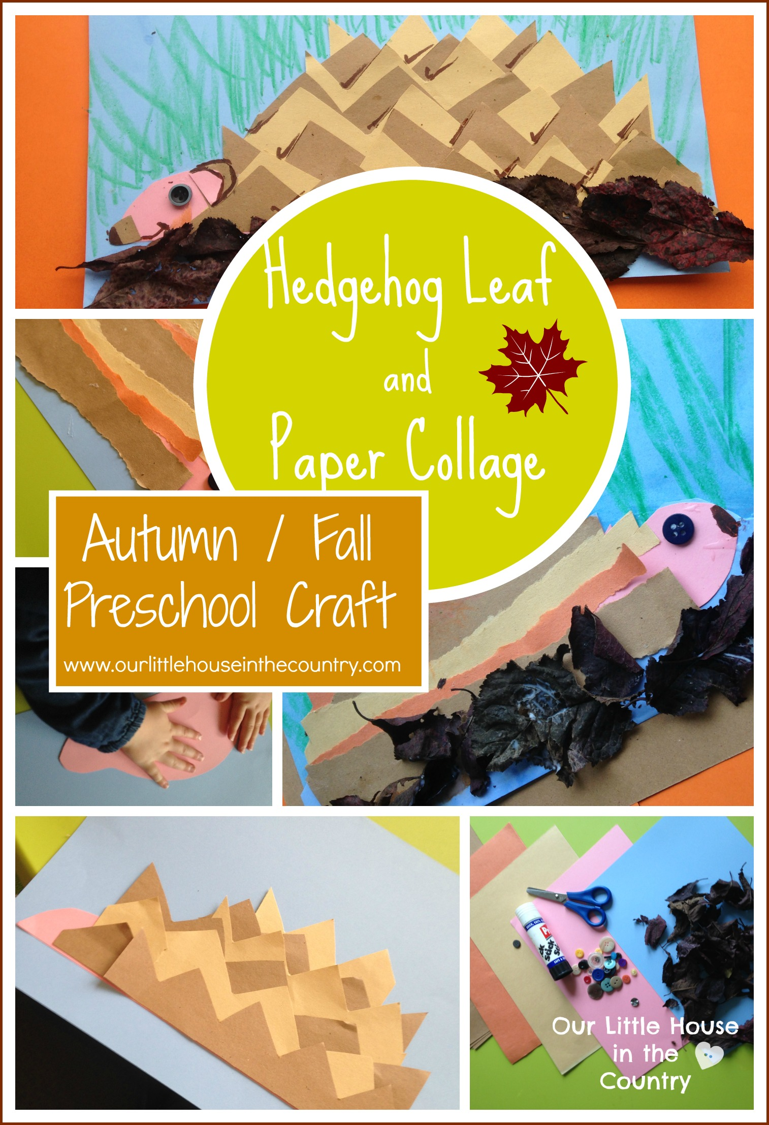 Hedgehogs Leaf And Paper Collages Autumn Fall Preschool Craft