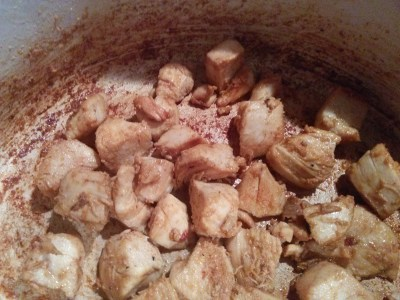 brown chicken in pot