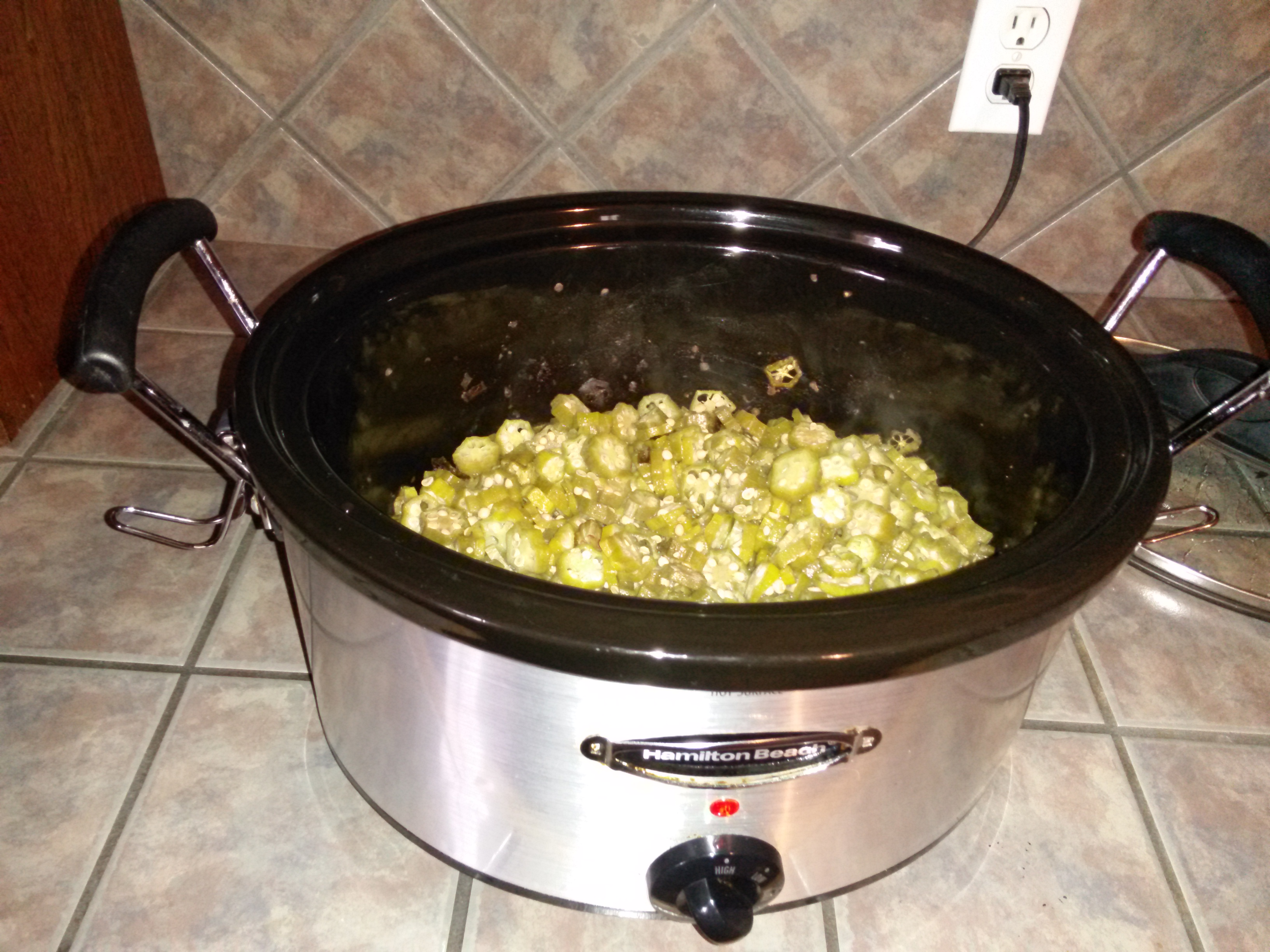 the okra is the desired color and texture turn the crock pot off and allow the okra to cool once cool i place the smothered okra into a quart freezer - How To Freeze Fresh Okra