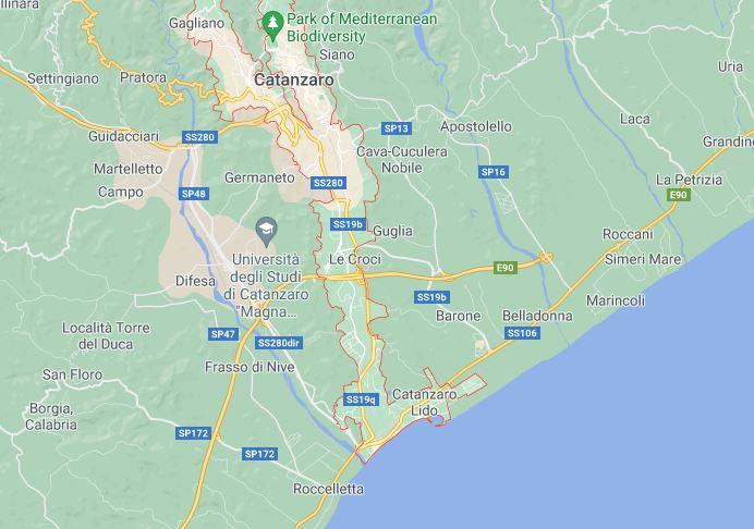 Map of Catanzaro region of Calabria