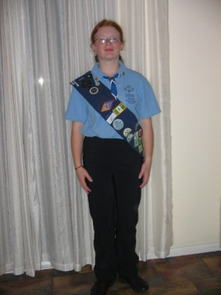 Katrina Dressed for interview to be part of the Australian Contingent of Girl Guides to International Jamboree - 13 years old