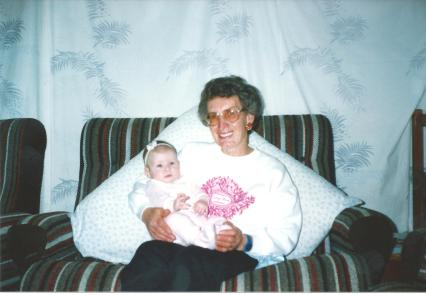 Joan with Granddaughter Baby Clare 1991