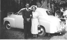 Ross and Joan Adams - Going Away Outfits - Wedding Car 1953