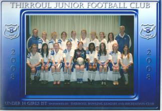 Thirroul Junior Soccer Team 2008 - Katrina is Goalkeeper holding the ball in front row
