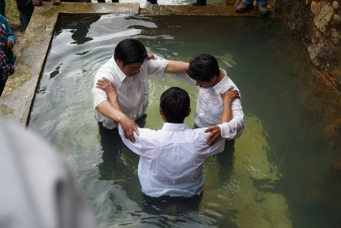 Praying after the baptisms