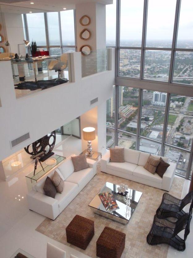 high ceiling living room white