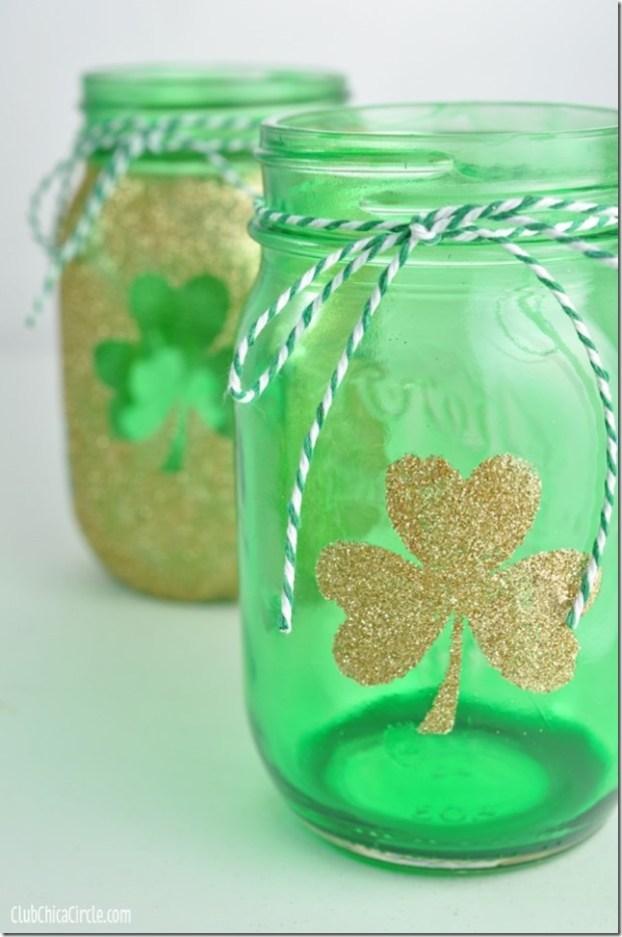 diy st patrick's day decorations -Mason Jar Luminaries