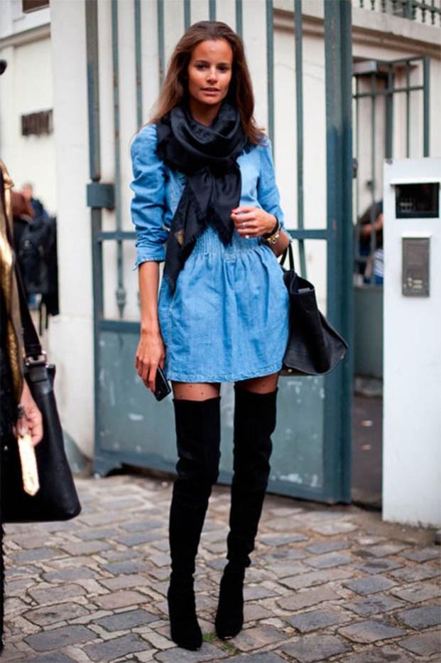 denim dress outfit ideas 1