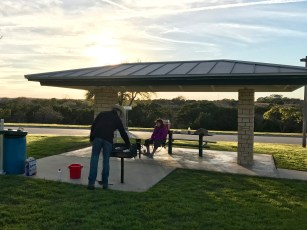 Grilling at a rest stop on I-10