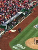 The Umpires congregate to make the first replay decision at Nationals Park