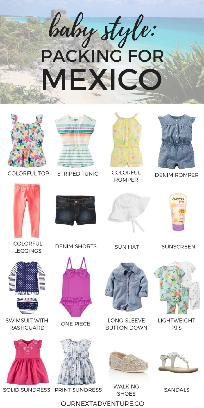 What to pack for baby for a stylish trip to Riviera Maya, Mexico #rivieramaya #mexico #familytravel // Family Travel | Travel with Kids | Flying with Baby | Family Beach Vacation | Warm Weather Destinations | What to Pack | Beach Trip | Kids Outfits | Toddler Packing Guide