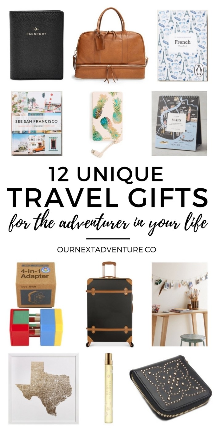 12 unique gift ideas for travel lovers. #wanderlust #travel #giftguide // Travel Moms | Christmas Gift Guide | Holidays | Traveler Gift Ideas | Must-Have Travel Accessories | Travel Books