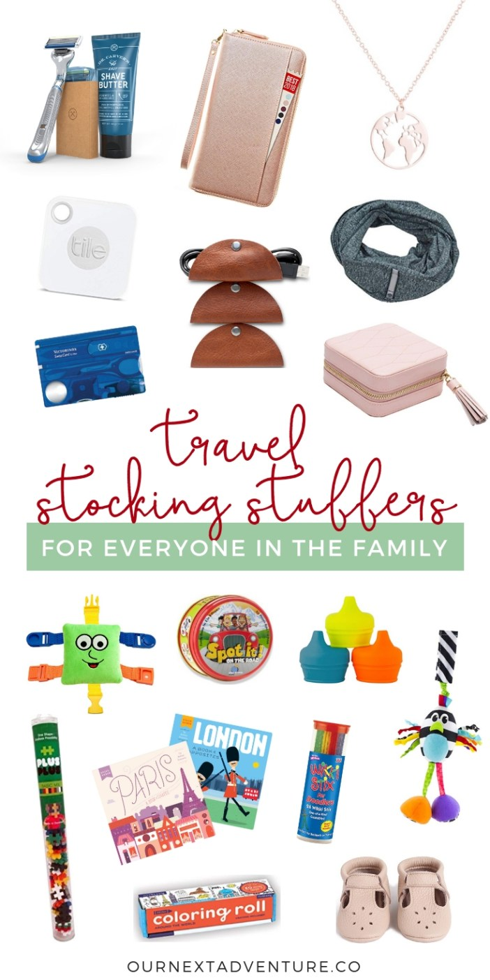 Travel stocking stuffers for everyone in the family (Mom, Dad, Kids, Toddler & Baby!) #christmas #holidays #stockingstuffers #giftguide #familytravel // Travel Gift Ideas | Cheap Stocking Stuffers | Useful Stocking Stuffers | Christmas Gifts for Mom | Gift Ideas for Dad | Affordable Stocking Stuffers | Experience Gifts | Baby Stocking Stuffers | Toddler Stocking Stuffers | What to Buy Traveling Family