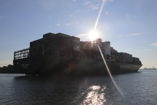 and a freighter near sundown
