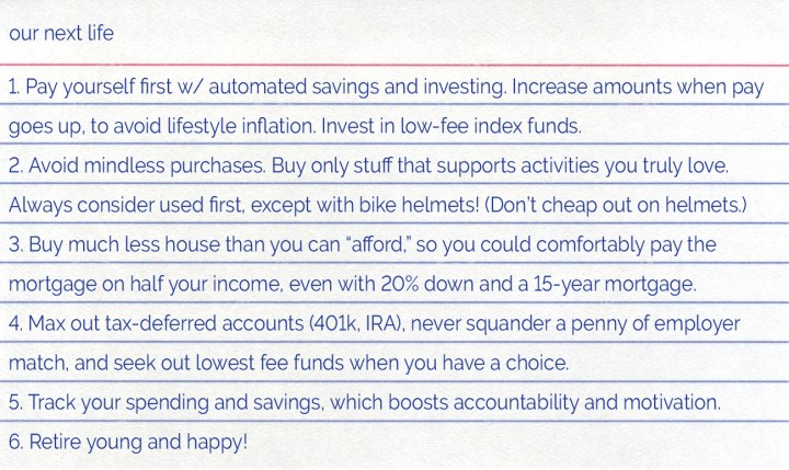 OurNextLife.com // The Index Card Challenge // Our Best Financial Advice on One Card!
