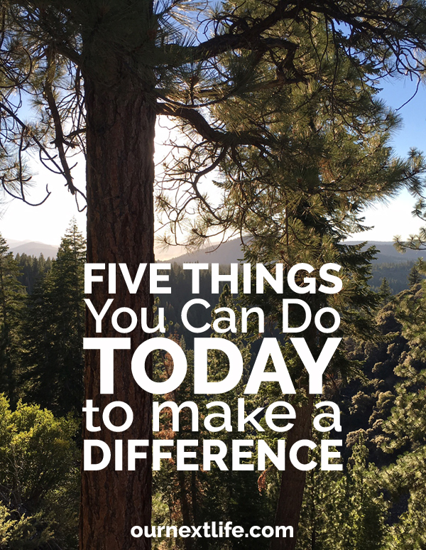 OurNextLife.com // Five Things You Can Do TODAY to Make a Difference