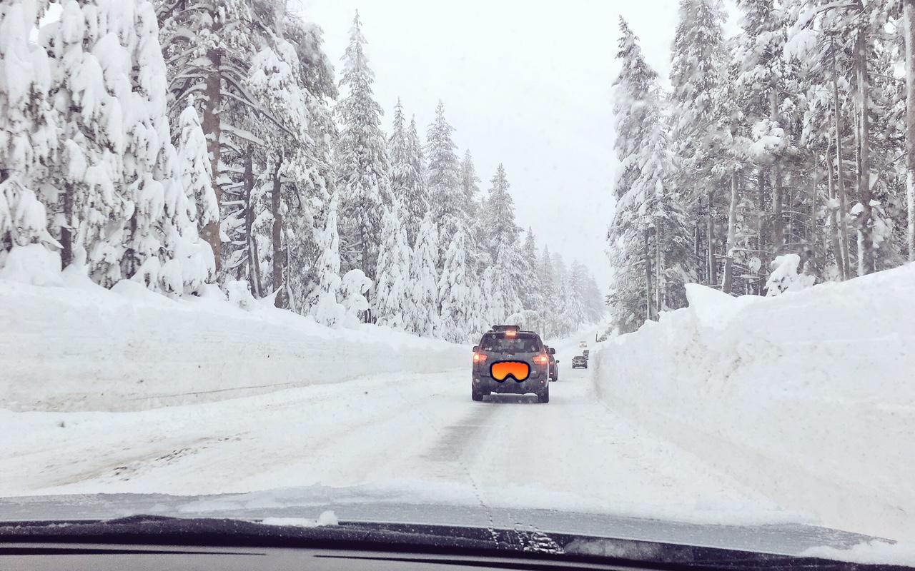 Ski traffic and tall snow banks