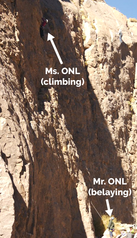 Ms. ONL rock climbing, Mr. ONL belaying