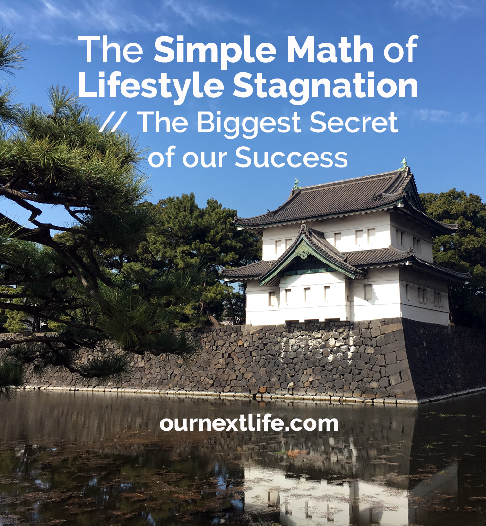 OurNextLife.com // The Simple Math of Lifestyle Stagnation, the Biggest Secret of Our Success // Lifestyle inflation will sink any financial plan, avoiding lifestyle inflation, saving for retirement, saving for financial goals by avoiding lifestyle inflation