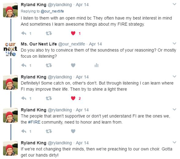 Twitter exchange with Ryland King