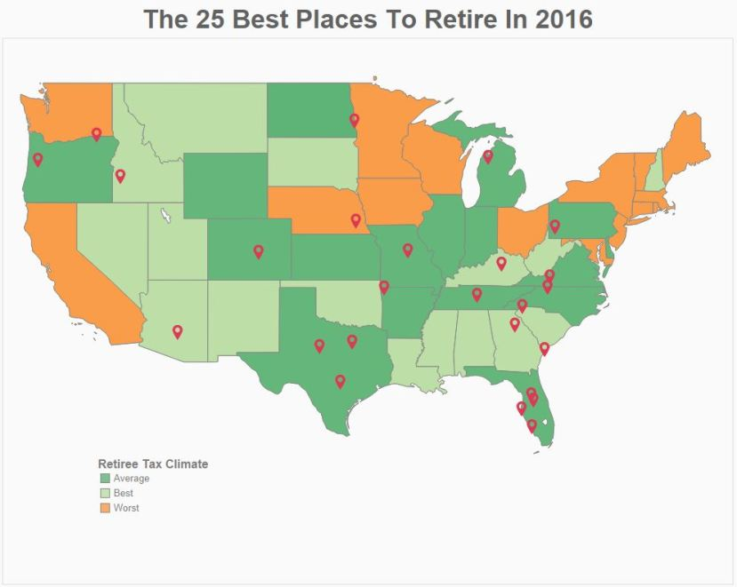 Forbes map on retiree tax climate
