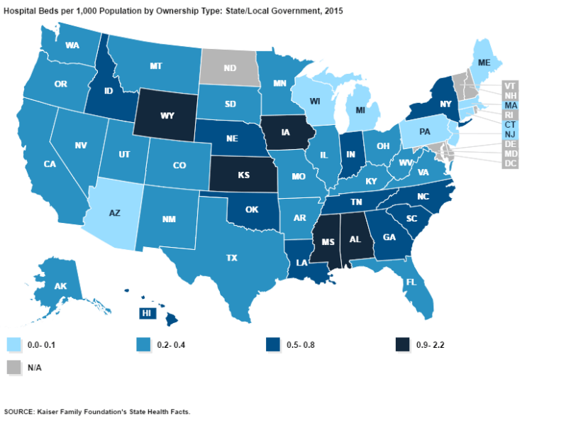 Hospital beds per capita by state