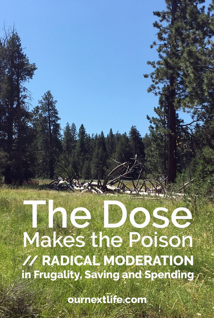The Dose Makes the Poison // Radical Moderation in Frugality, Saving and Spending -- not trying to save too fast or spend too perfectly en route to financial independence or early retirement