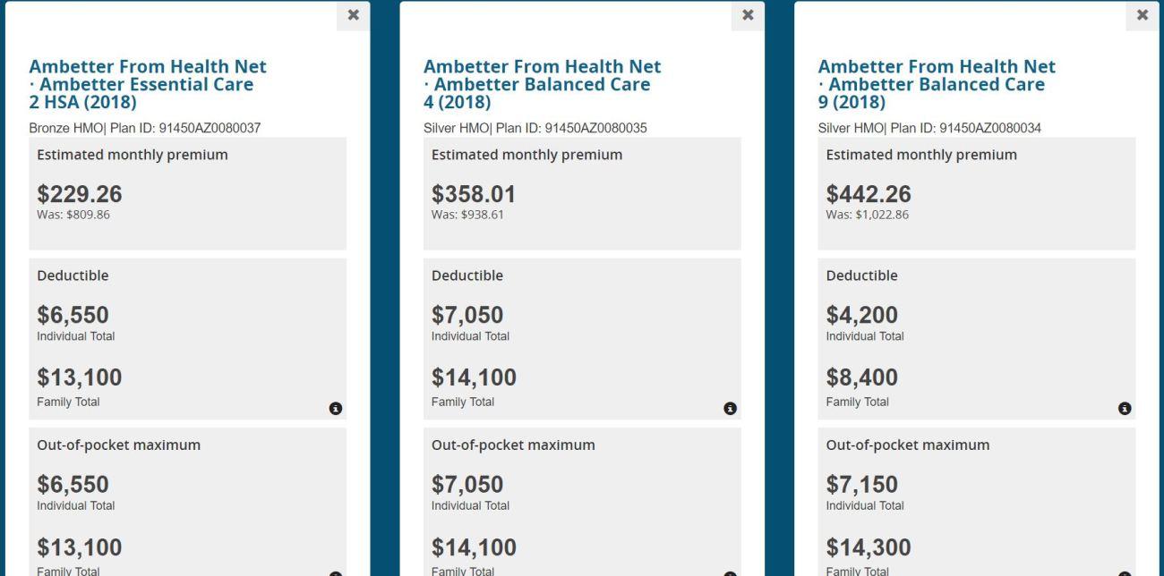 Healthcare.gov health insurance comparison tool