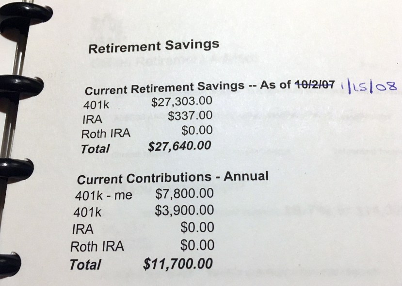 Tanja's retirement savings 10 years before retiring