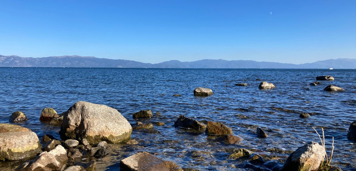 Lake Tahoe from lake level, with mountains in the background