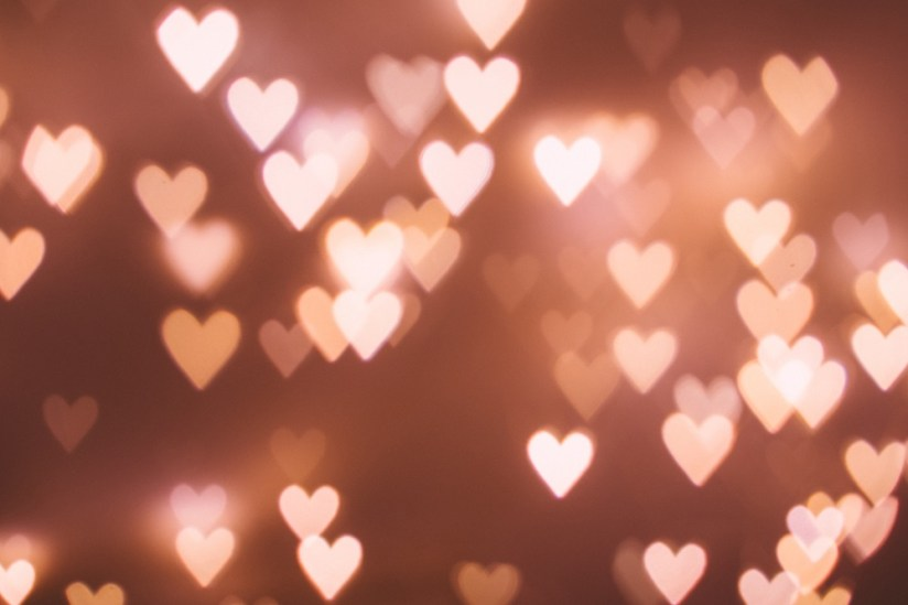 Many hearts showing in a rectangle background.