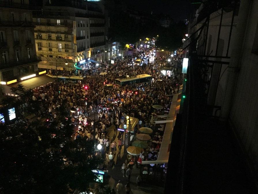 Same view the night that France beat Germany in the Eurocup. The streets were completely mobbed by ecstatic fans