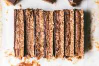 slices of vegan caramel choc slice