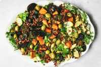 roasted vegetable and lentil salad on white platter