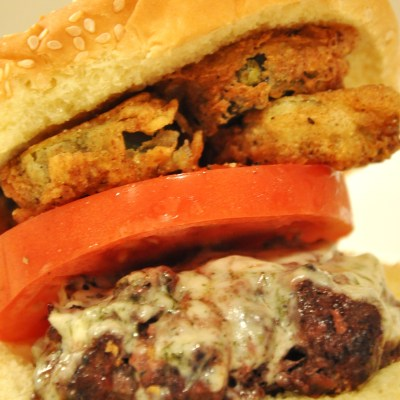 Dill Havarti Cheeseburger With Fried Pickles