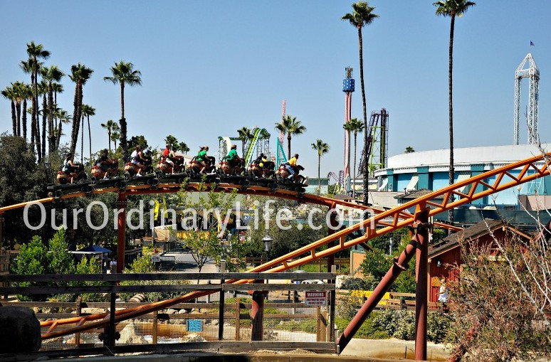 View of Knotts Berry Farm from Bigfoot Rapids