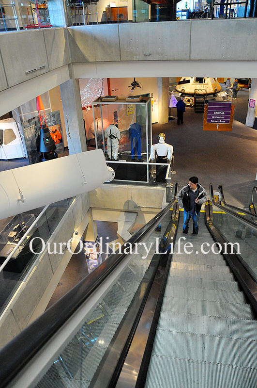 2nd Floor Science Phenomena floor Great Lakes Science Center Cleveland, Oh escalator
