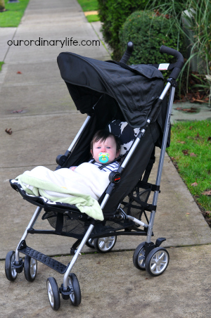 our baby in britax b nimble stroller