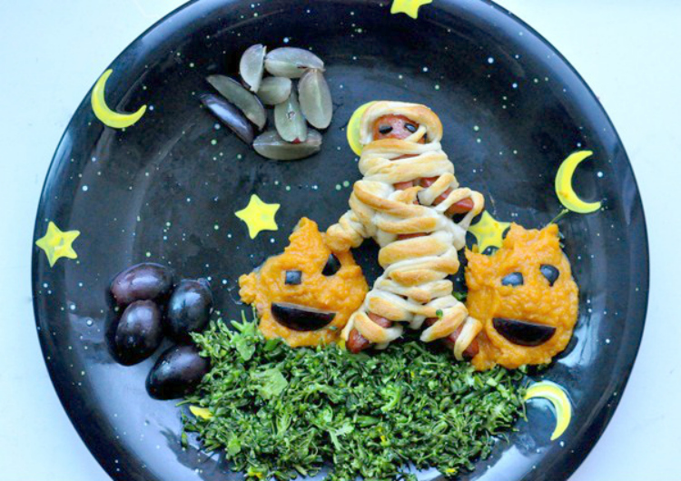 mummy dogs with cut arms and legs hot dogs